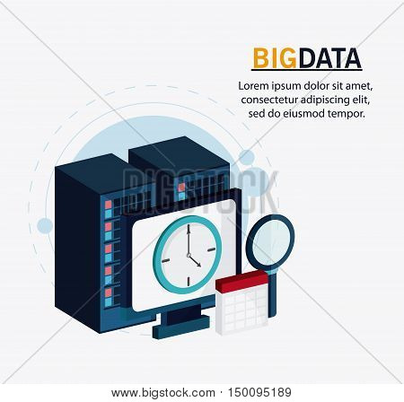 Computer clock calendar and lupe icon. Big data center base and web hosting theme. Colorful design. Vector illustration