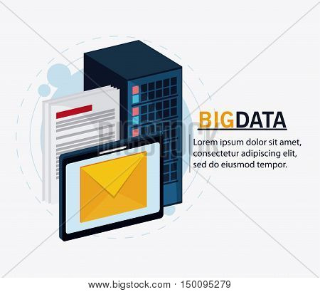 Document envelope and tablet icon. Big data center base and web hosting theme. Colorful design. Vector illustration