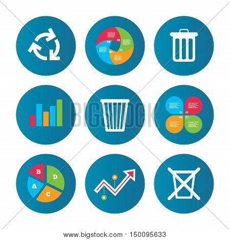 Business pie chart. Growth curve. Presentation buttons. Recycle bin icons. Reuse or reduce symbols. Trash can and recycling signs. Data analysis. Vector