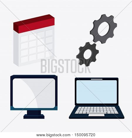 Computer laptop gears and calendar icon. Big data center base and web hosting theme. Colorful design. Vector illustration