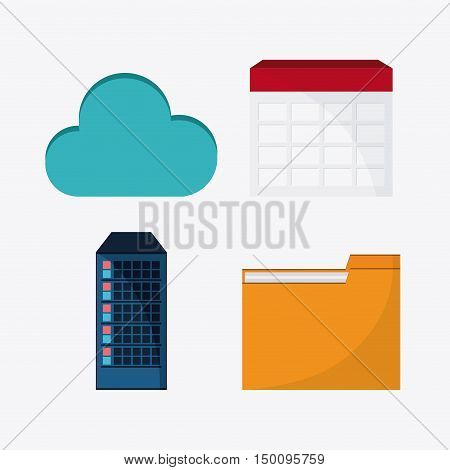 File cloud and calendar icon. Big data center base and web hosting theme. Colorful design. Vector illustration