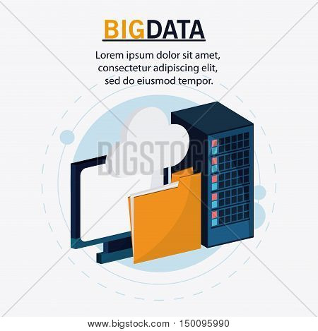 Computer file and cloud icon. Big data center base and web hosting theme. Colorful design. Vector illustration