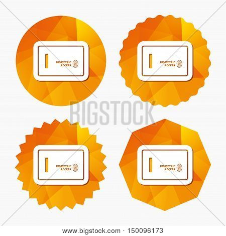 Safe sign icon. Deposit lock symbol. Biometric access by fingerprint. Triangular low poly buttons with flat icon. Vector