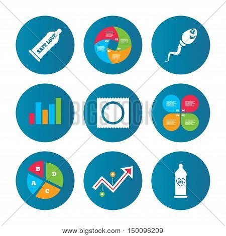 Business pie chart. Growth curve. Presentation buttons. Safe sex love icons. Condom in package symbol. Sperm sign. Fertilization or insemination. Heart symbol. Data analysis. Vector