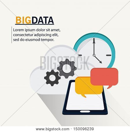 Smartphone bubble gears cloud and clock icon. Big data center base and web hosting theme. Colorful design. Vector illustration