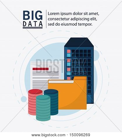 Document and file icon. Big data center base and web hosting theme. Colorful design. Vector illustration
