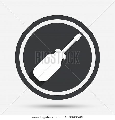 Screwdriver tool sign icon. Fix it symbol. Repair sign. Circle flat button with shadow and border. Vector