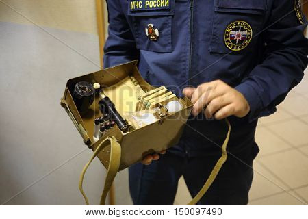 MOSCOW - DEC 17, 2014: Showing of chemical equipment for Emercom in North Eastern Administrative District (Russian Emergency Situations Ministry)