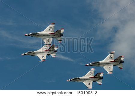 NEW WINDSOR NY - SEPTEMBER 3 2016: USAF Thunderbirds perform at the Stewart International Airport during the New York Airshow. Squadron is the official air demonstration team for the United States Air Force