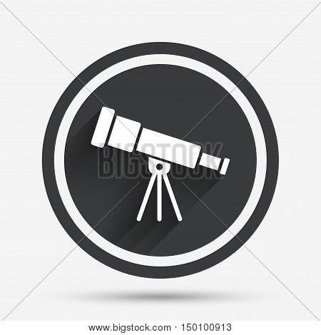 Telescope icon. Spyglass tool symbol. Circle flat button with shadow and border. Vector