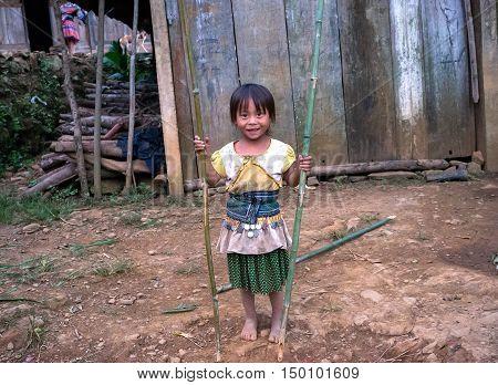 SAPA, VIETNAM, January 23, 2016: Hmong children, highland Sa Pa, another friendly