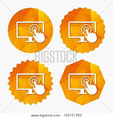 Touch screen monitor sign icon. Hand pointer symbol. Triangular low poly buttons with flat icon. Vector