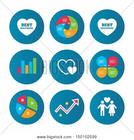 Business pie chart. Growth curve. Presentation buttons. Valentine day love icons. Best girlfriend and boyfriend symbol. Couple lovers sign. Data analysis. Vector