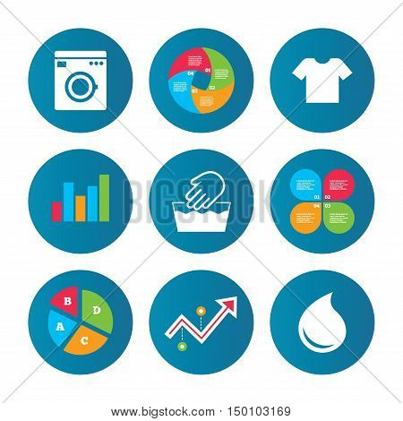 Business pie chart. Growth curve. Presentation buttons. Wash machine icon. Hand wash. T-shirt clothes symbol. Laundry washhouse and water drop signs. Not machine washable. Data analysis. Vector