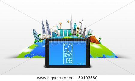 Vector illustration of Famous monuments of the world on planet Earth on blue sky background
