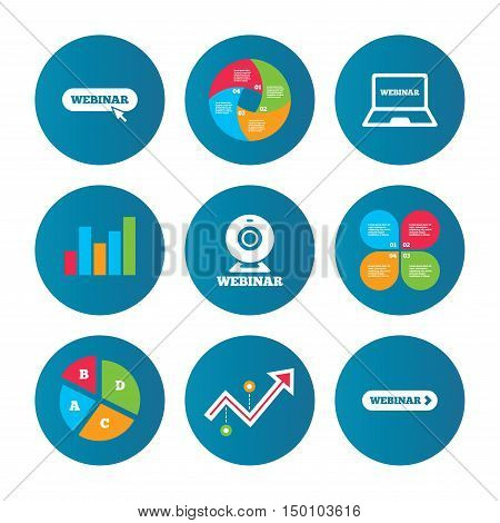 Business pie chart. Growth curve. Presentation buttons. Webinar icons. Web camera and notebook pc signs. Website e-learning or online study symbols. Data analysis. Vector