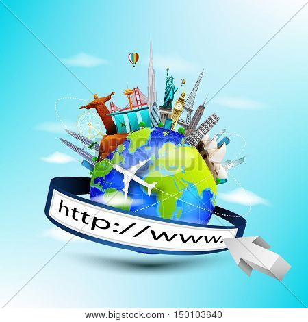 Vector illustration of Planet earth travel the world concept with address bar on blue sky background