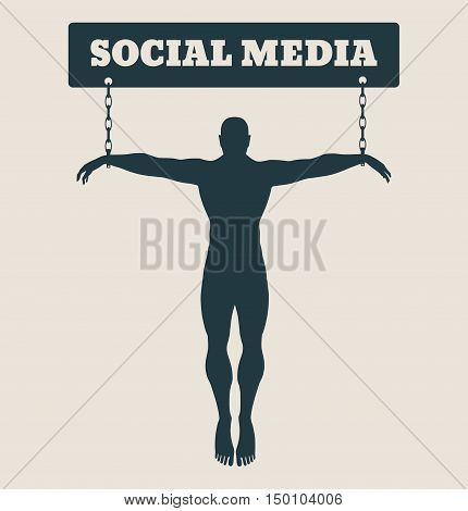Man chained to internet word. Unhealth addicition metaphor. Vector illustration.