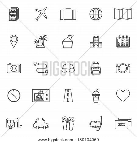 Trip line icons on white background, stock vector