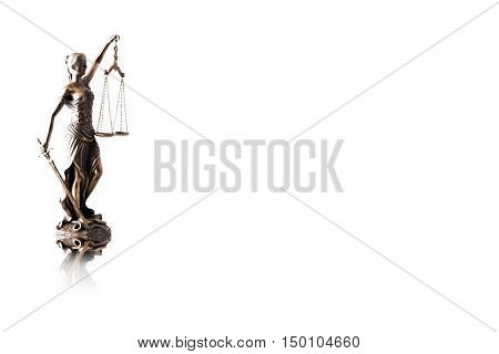 Lady justice or Themis with reflection isolated on white background and space for text