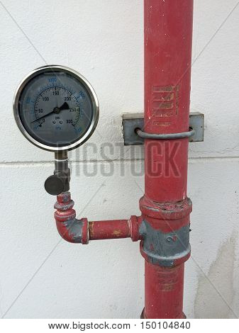 Pressure gauge and valve of fire protection.