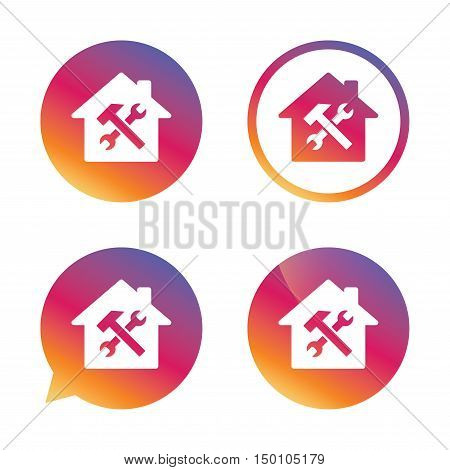 Service house. Repair tool sign icon. Service symbol. Hammer with wrench. Gradient buttons with flat icon. Speech bubble sign. Vector