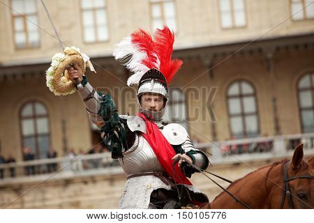 GATCHINA, ST. PETERSBURG, RUSSIA - SEPTEMBER 10, 2016: Actor in image of Emperor Nicholas I with wreath on his sword during the festival Gatchinskaya Byl. The festival is held first time this year