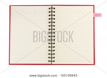 Notebook and notepaper for note new year 2017 plan isolated on white