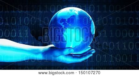 Digital Global Technology Concept Abstract Background 3d Render