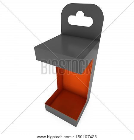 Black paper hanging open box. Packaging container with hanging hole. Mock up template. 3d render illustration isolated on white background.