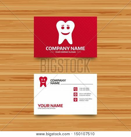 Business card template. Tooth happy face sign icon. Dental care symbol. Healthy teeth. Phone, globe and pointer icons. Visiting card design. Vector
