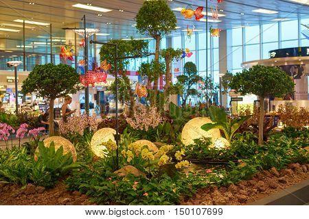 SINGAPORE - CIRCA SEPTEMBER, 2016: inside of Singapore Changi Airport. Singapore Changi Airport is the primary civilian airport for Singapore.