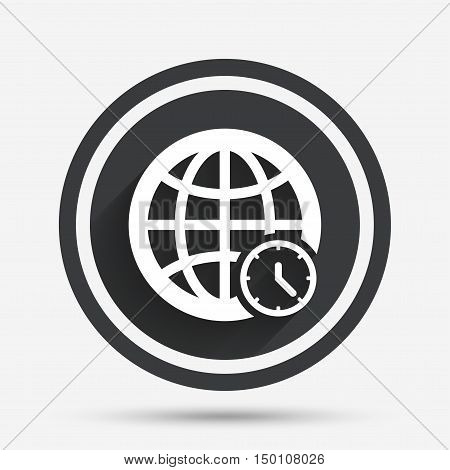 World time sign icon. Universal time globe symbol. Circle flat button with shadow and border. Vector