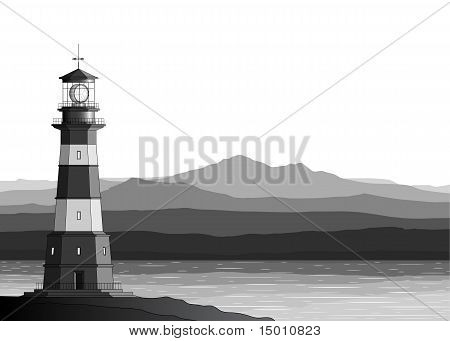 Landscape With Detailed Lighthouse, Mountains And Sea