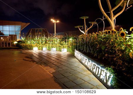 SINGAPORE - CIRCA AUGUST, 2016: Sunflower Garden at Singapore Changi Airport. Singapore Changi Airport is the primary civilian airport for Singapore.