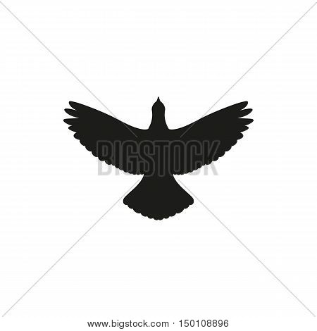 Simple black one single silhouette icon flying up bird dove pigeon. Vector