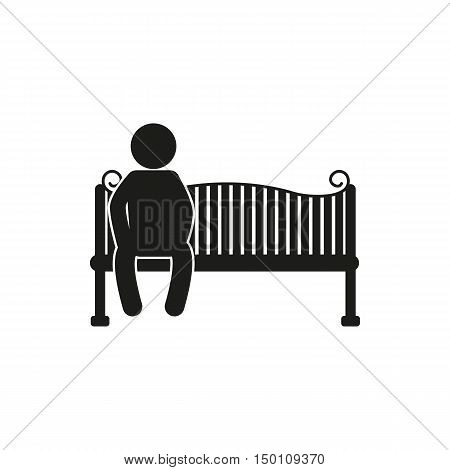 silhouettes of man and woman sitting on the park bench - vector on white