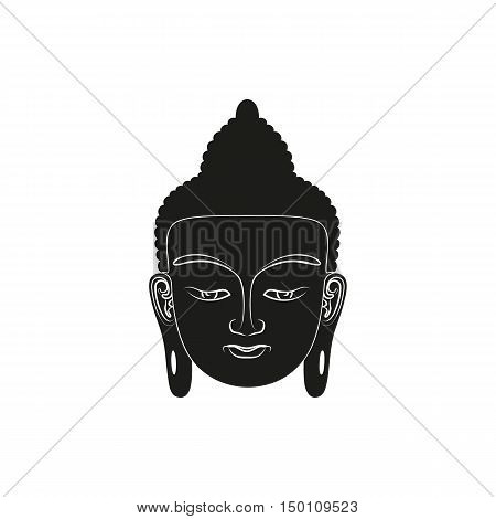 Head of Buddha. Simple black Vector illustration isolated on white