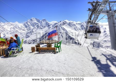 CAUCASUS RUSSIA - May 01.2015: Little cafe next to Aerial lift on a mountain Elbrus. First level
