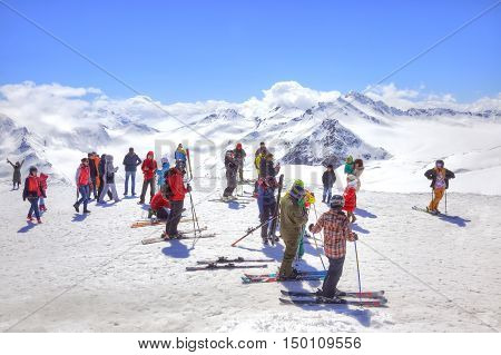 CAUCASUS RUSSIA - May 01.2015: Skiers and sportsmen on the of mountain Elbrus