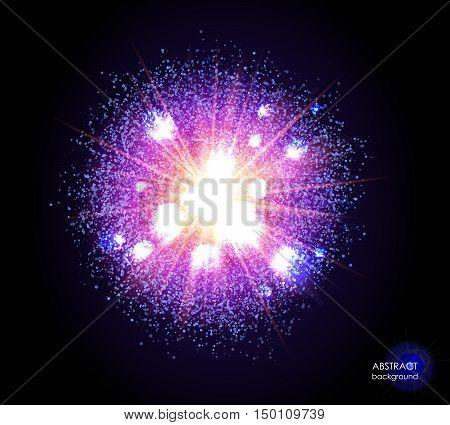 Explosion of supernova. Bright cosmic blue magenta fire background. Glowing space. Bundle of energy. Cloud of dust and light on black. Fireworks, holiday.  Abstract composition. Vector illustration