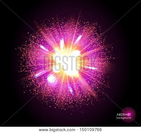 Explosion of supernova. Bright cosmic magenta and fire background. Glowing space. Bundle of energy. Cloud of dust and light on black. Fireworks, holiday.  Abstract composition. Vector illustration