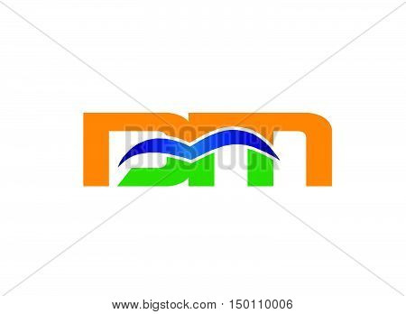 DM company linked letter logo design vector template