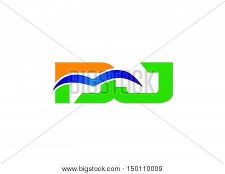 Dj company linked letter logo design vector template