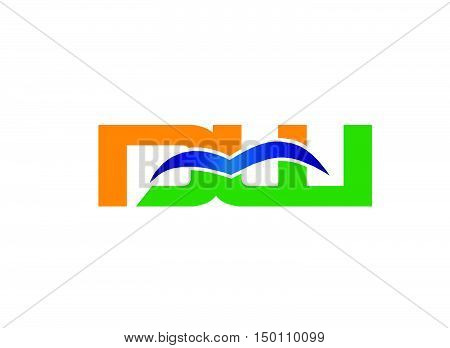 DW company linked letter logo design vector template