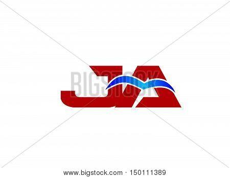 JA Logo. Vector Graphic Branding Letter Element
