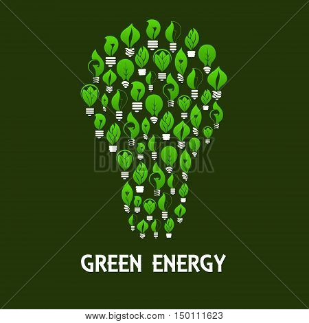 Green energy light bulb symbol made up of eco lamps with green leaves and plants. Saving energy and ecology themes design