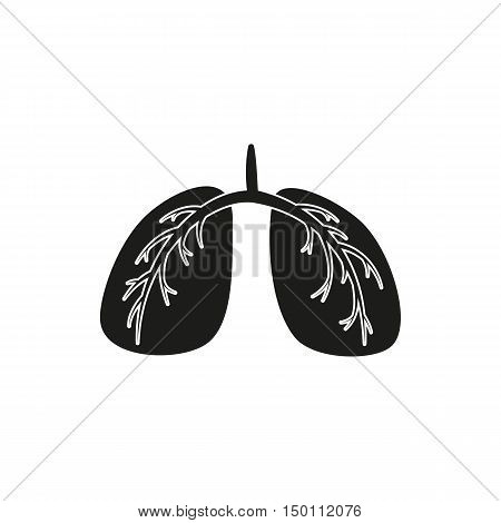 Black simple Medical Lungs icon isolated on white background. Elements for company print products page and web decor. Vector illustration.