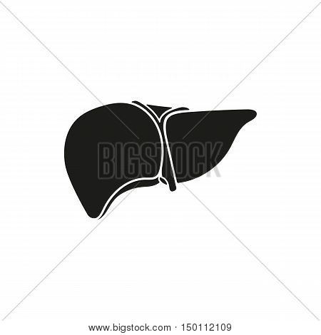 Black simple Medical human liver icon isolated on white background. Elements for company print products page and web decor. Vector illustration.