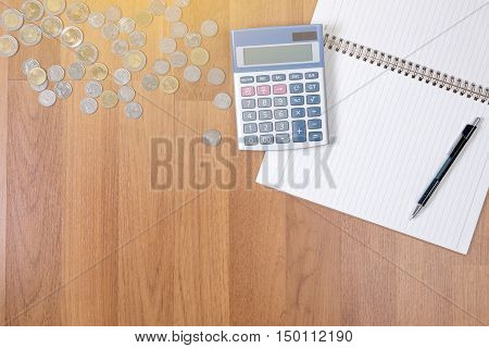 A Finance Money, Calculator Notes, Calculator Top View With Copy Space